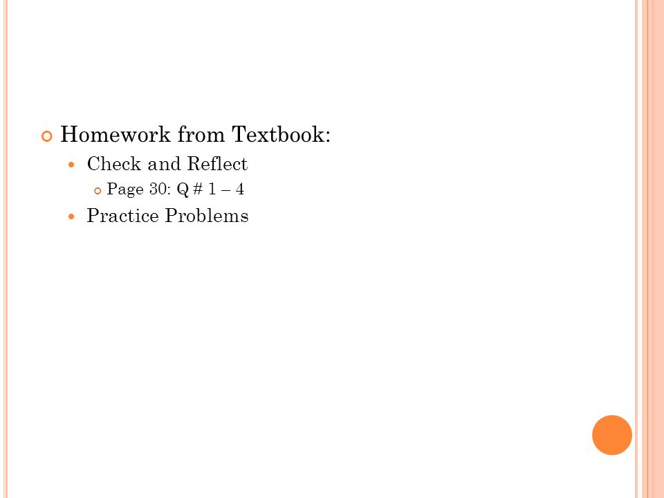 Homework from Textbook: