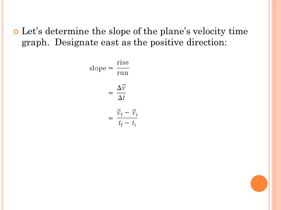 Let's determine the slope of the plane's velocity time graph