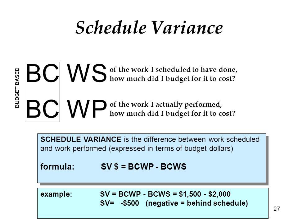 schedule variance calculator