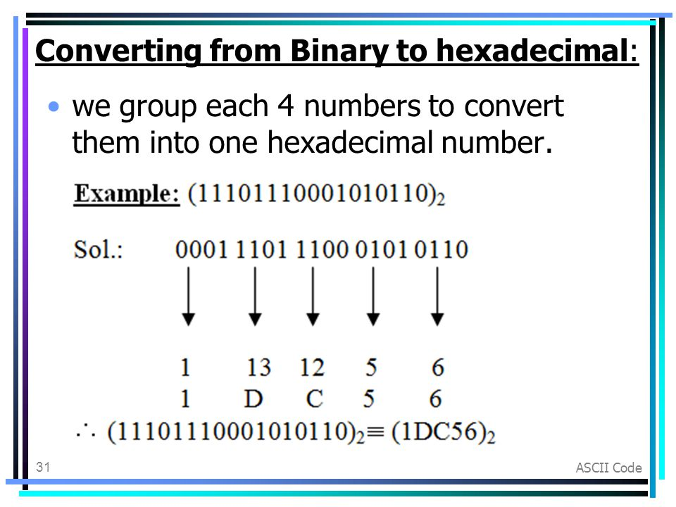 conversions from binary to hexdecimal numbering I want to convert it into hexadecimal data can anybody know a direct way of doing it without hashes or without coverting to decimal the perlfaq4 lists various conversions, for example from binary to decimal and from decimal to oct converts the binary representation of the number to a number.