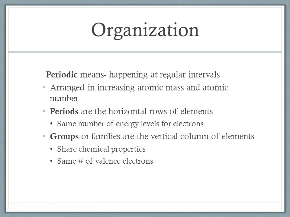 Organization Periodic means- happening at regular intervals