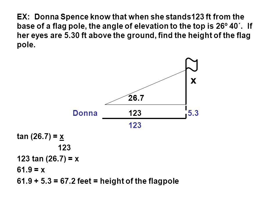 Angles of elevation depression ppt video online download ex donna spence know that when she stands123 ft from the base of a flag sciox Image collections