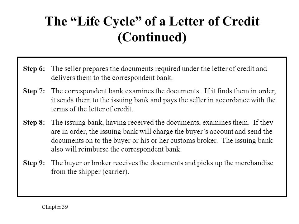 "The ""Life Cycle"" Of A Letter Of Credit - Ppt Video Online Download"
