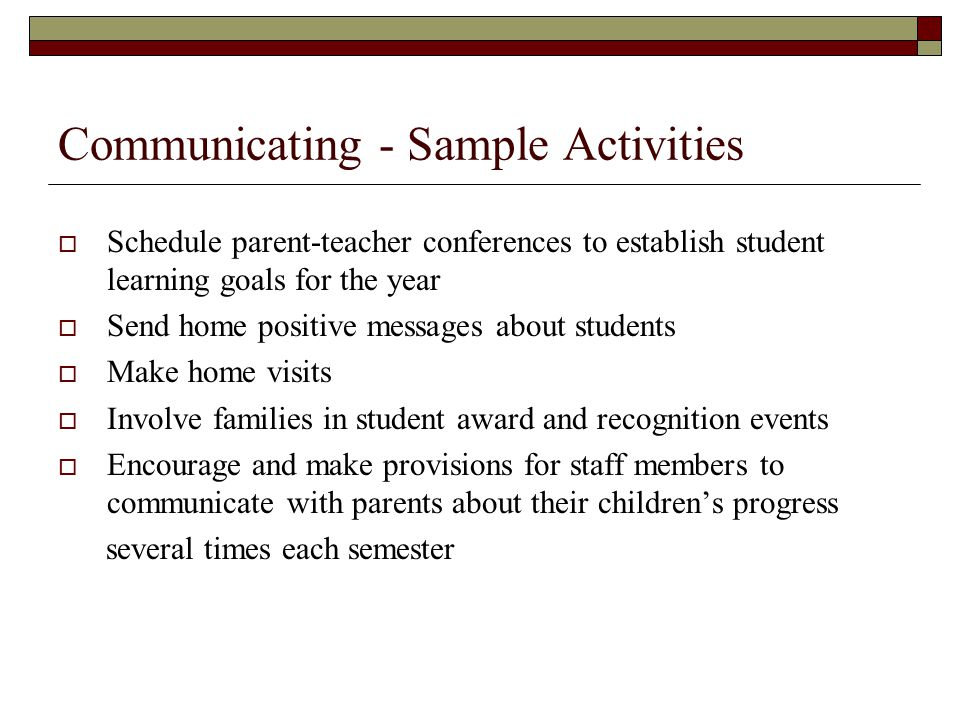 Communicating - Sample Activities