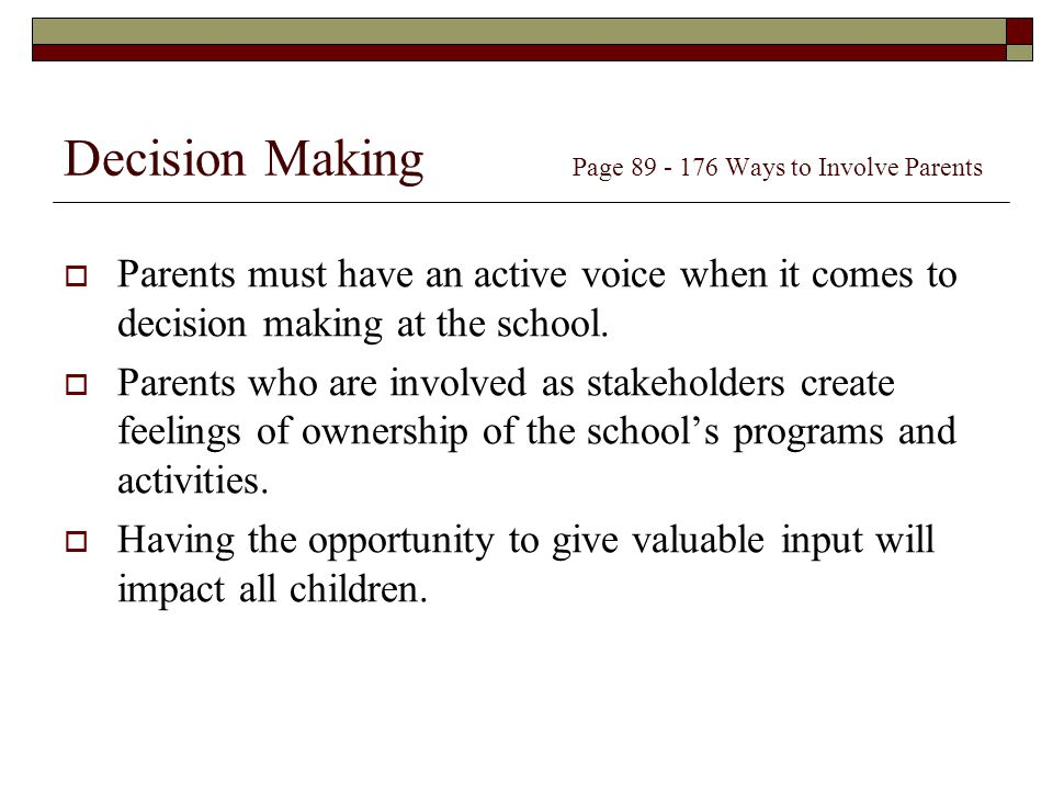 Decision Making Page Ways to Involve Parents
