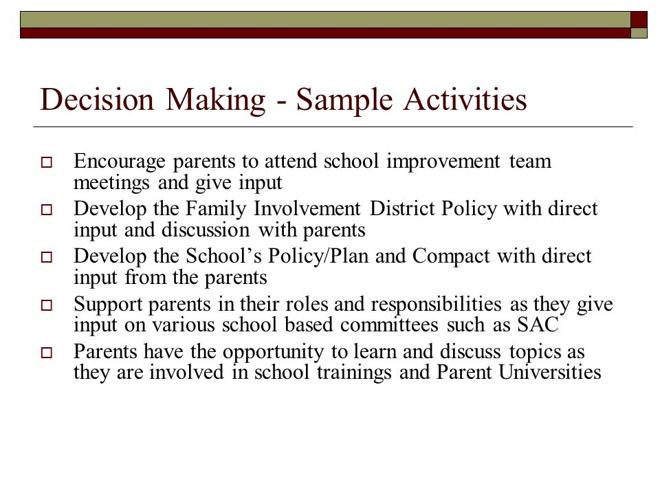 Decision Making - Sample Activities