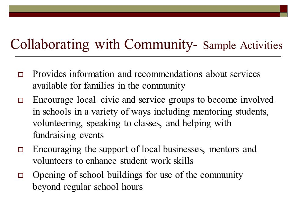 Collaborating with Community- Sample Activities