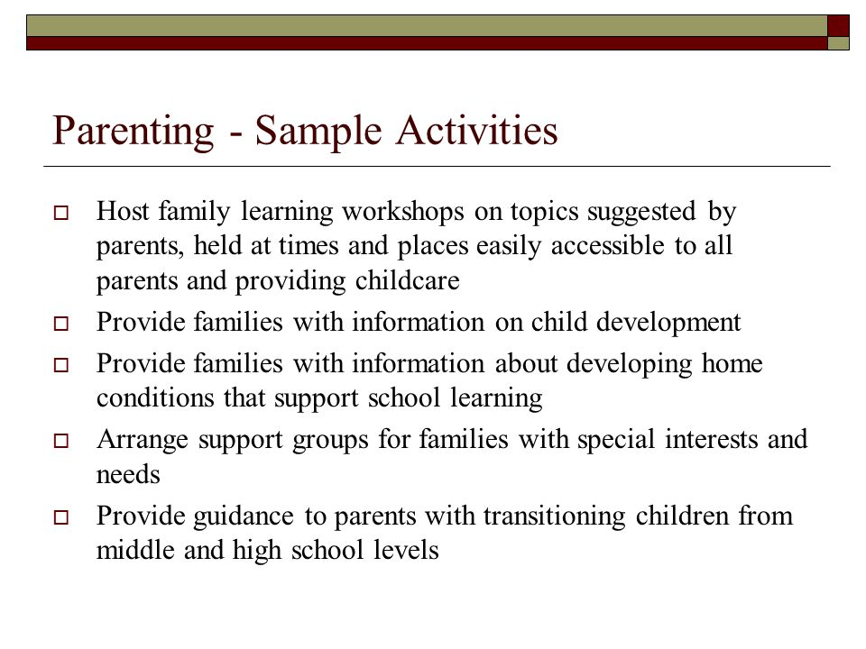 Parenting - Sample Activities