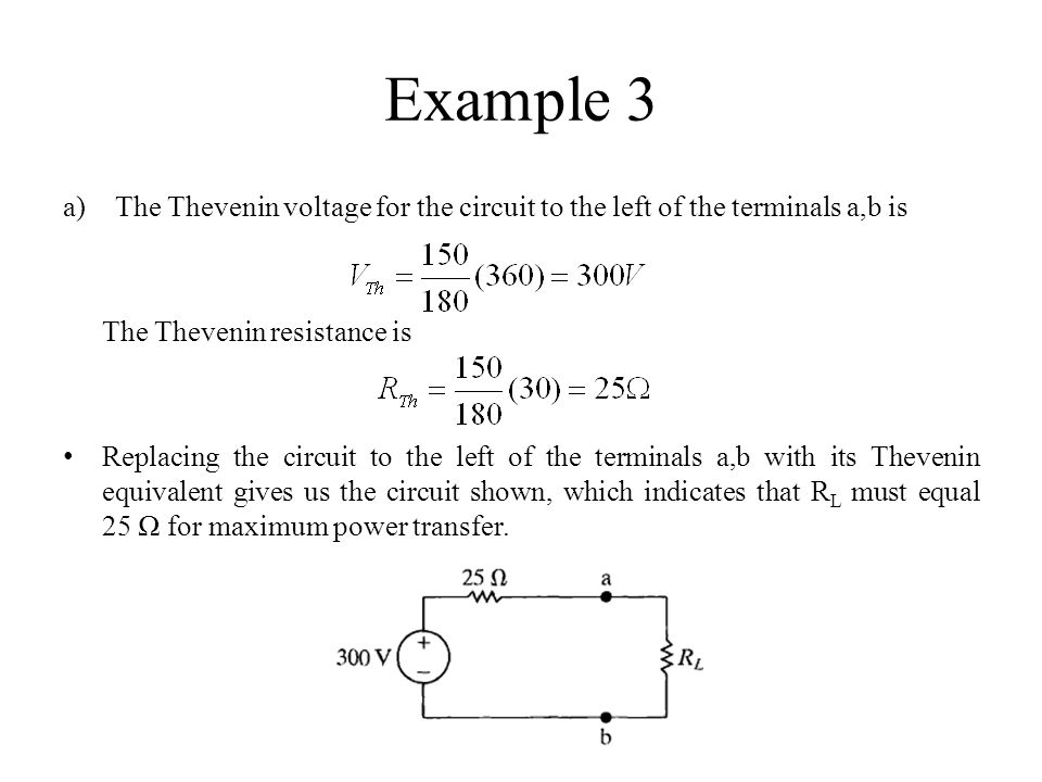 Example 3 The Thevenin voltage for the circuit to the left of the terminals a,b is. The Thevenin resistance is.