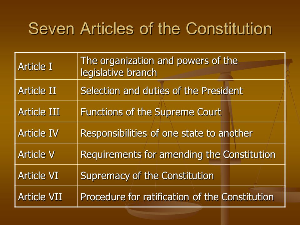 an analysis of seven articles of the us constitution As outlined in article v, amendments to the constitution are proposed by  this  third edition provides a comprehensive analysis of the united states'  covers  the first twelve amendments as well as the original seven articles.