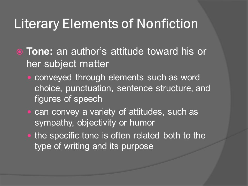 Literary Elements of Nonfiction