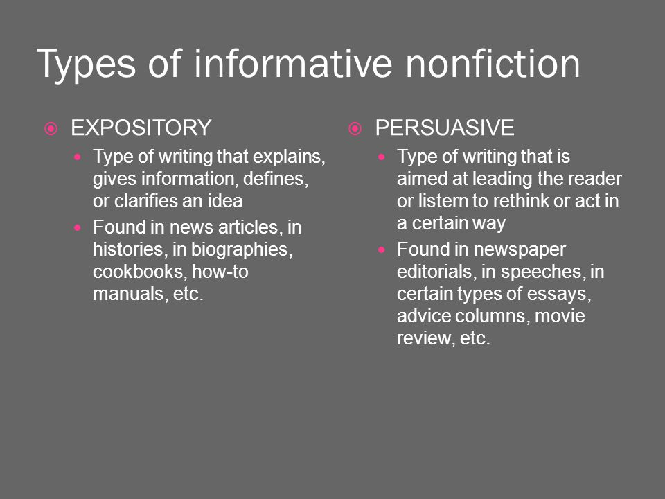 Types of informative nonfiction