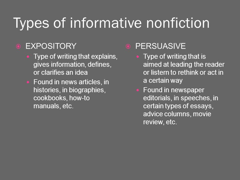 types non fiction essays
