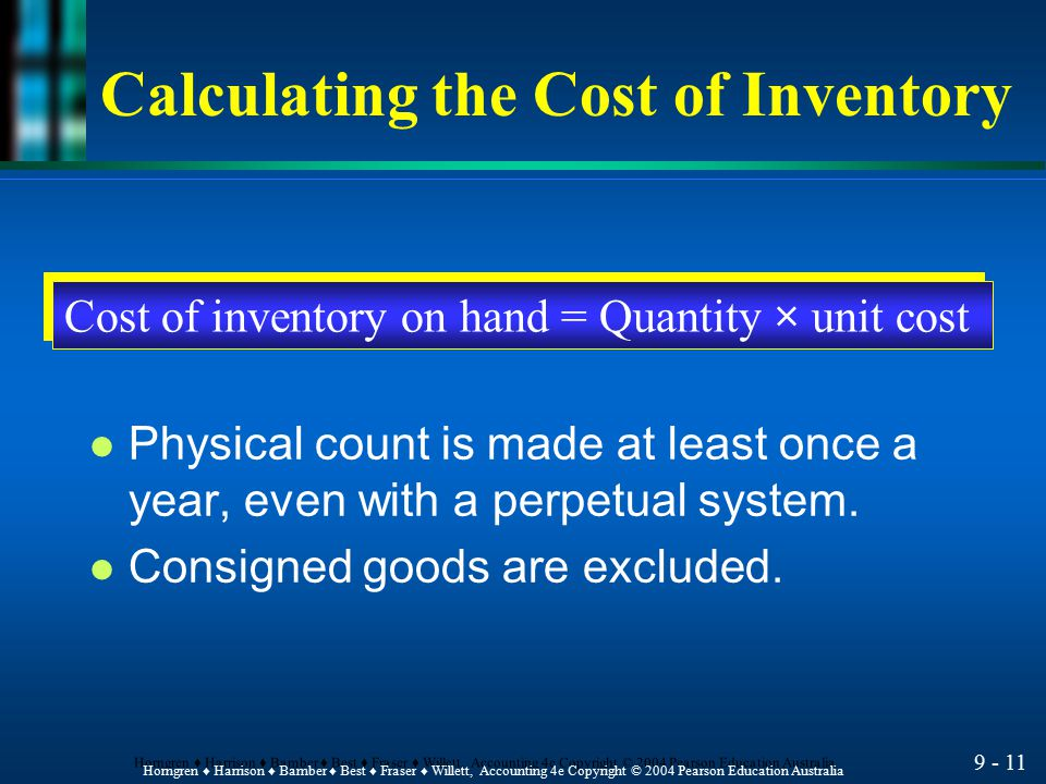 Calculating the Cost of Inventory