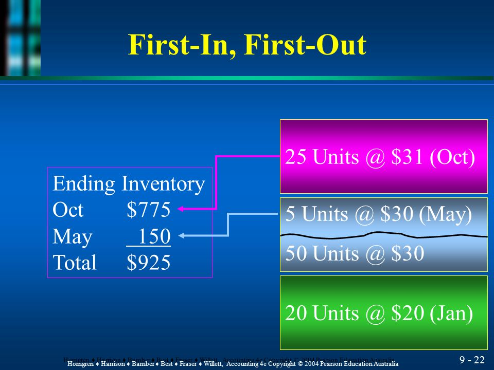 First-In, First-Out 25 $31 (Oct) Ending Inventory Oct $775