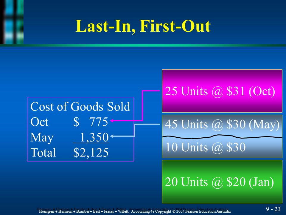 Last-In, First-Out 25 $31 (Oct) Cost of Goods Sold Oct $ 775