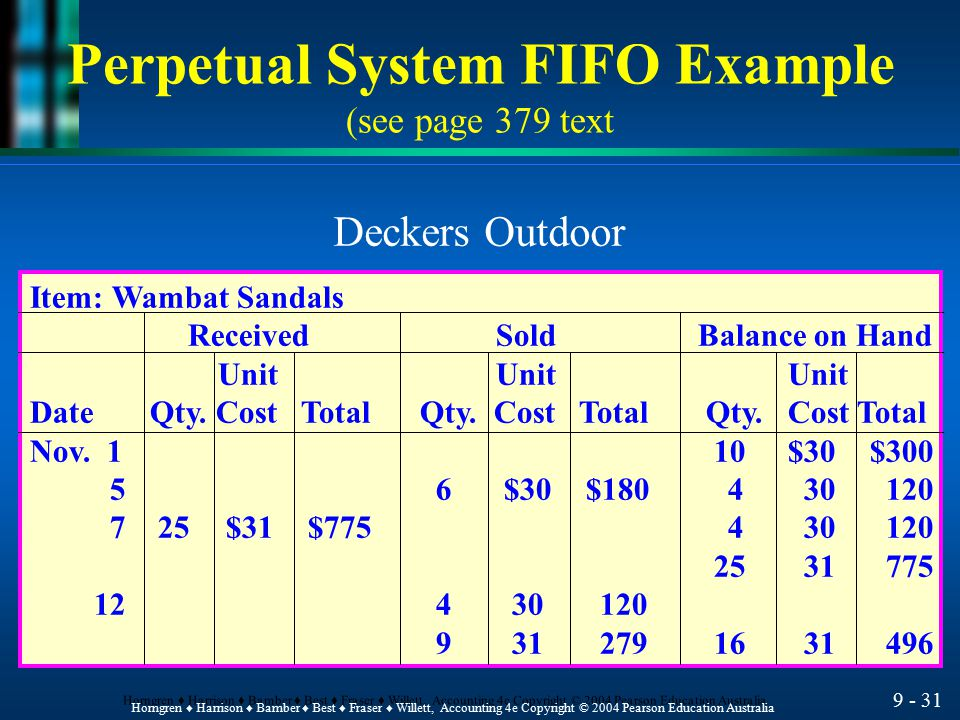 Perpetual System FIFO Example (see page 379 text