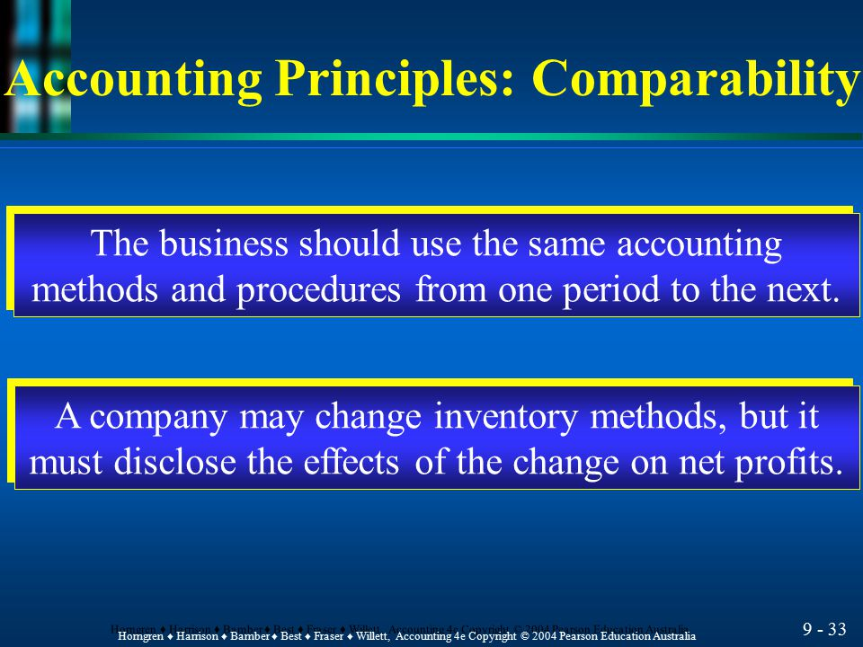 Accounting Principles: Comparability