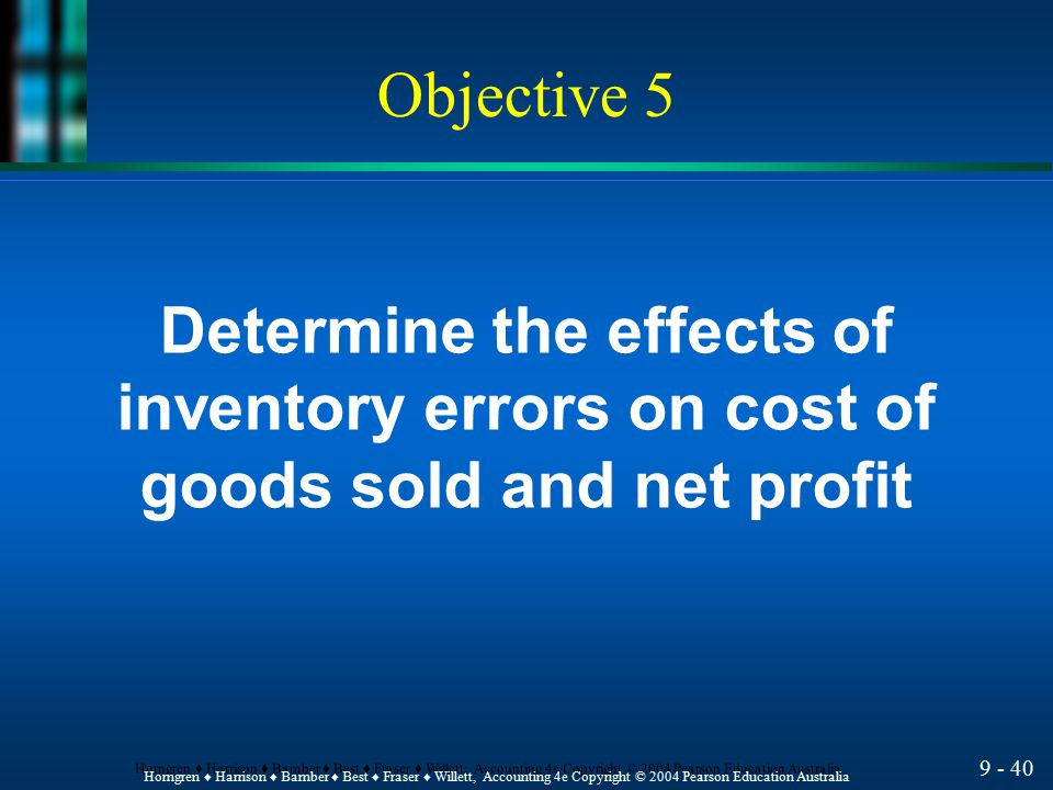 Determine the effects of inventory errors on cost of
