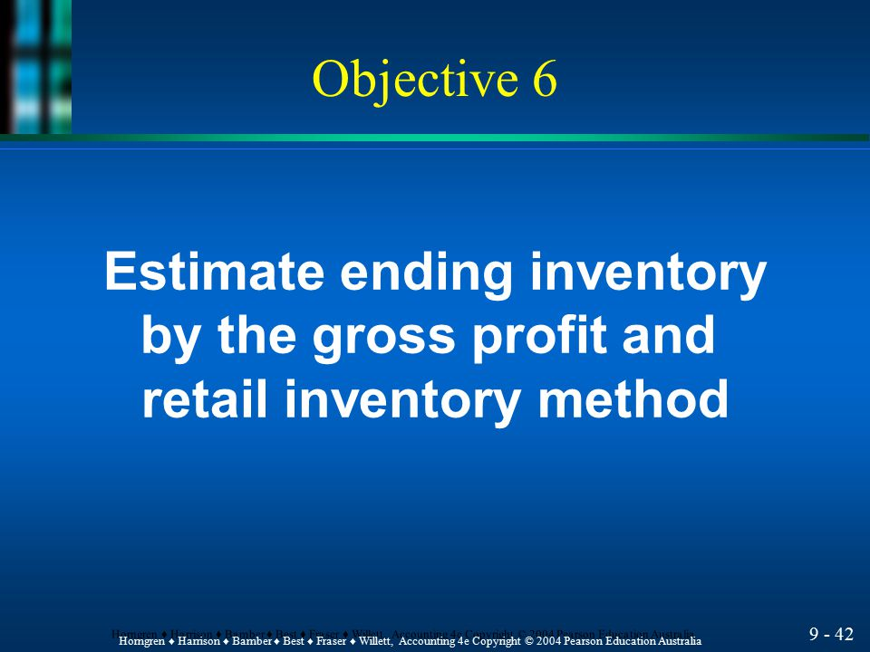 Estimate ending inventory retail inventory method