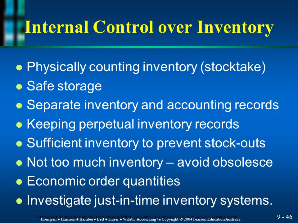 Internal Control over Inventory