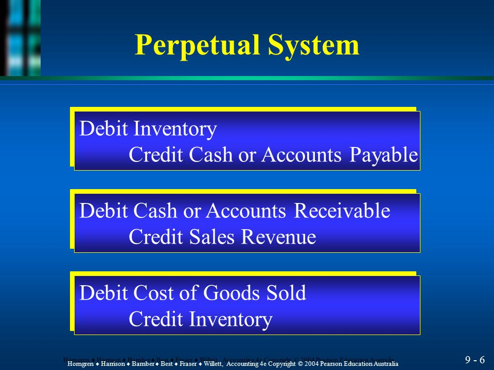 Perpetual System Debit Inventory Credit Cash or Accounts Payable