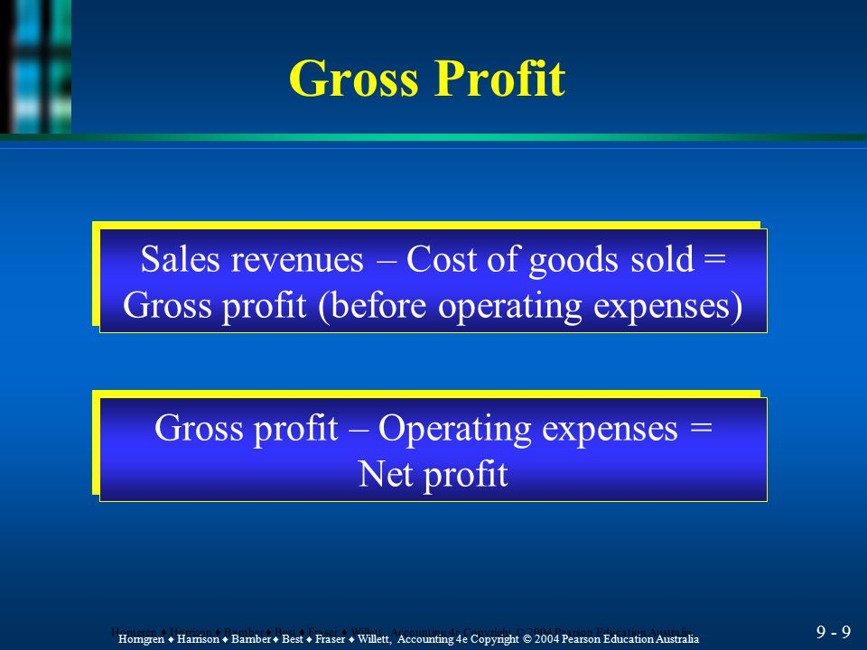 Gross Profit Sales revenues – Cost of goods sold =