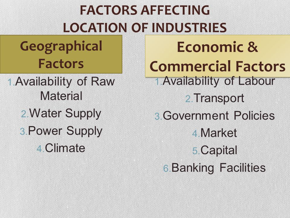 FACTORS AFFECTING LOCATION OF INDUSTRIES