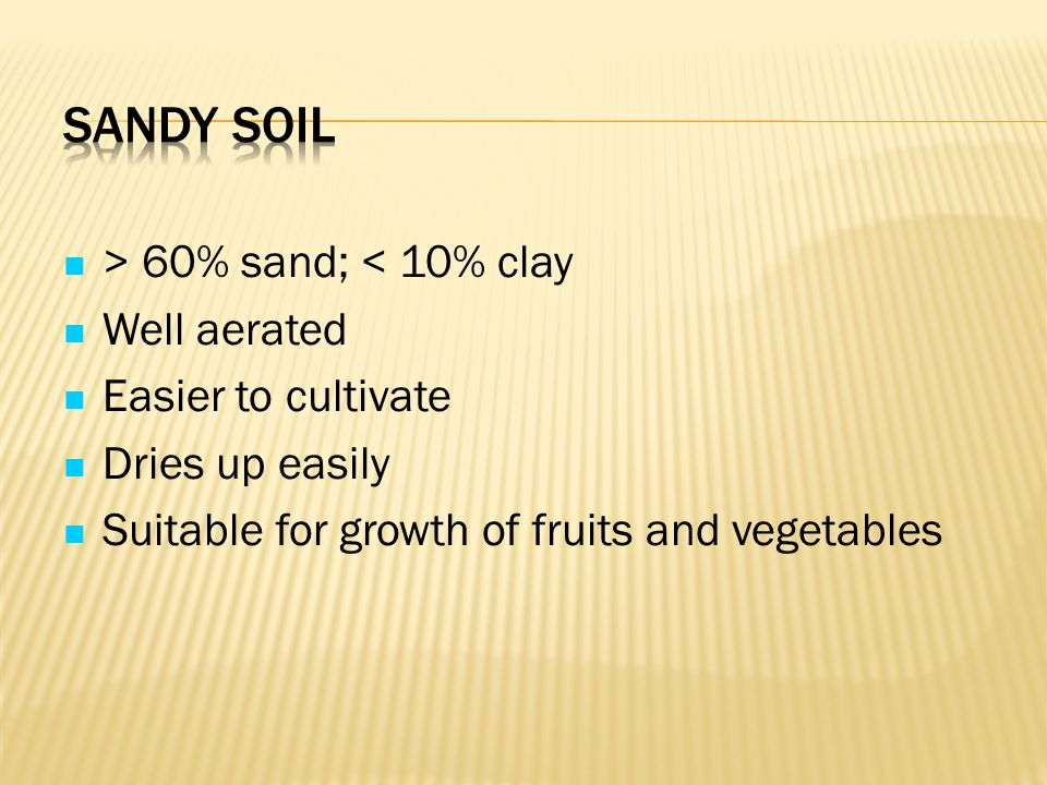 Sandy Soil > 60% sand; < 10% clay Well aerated