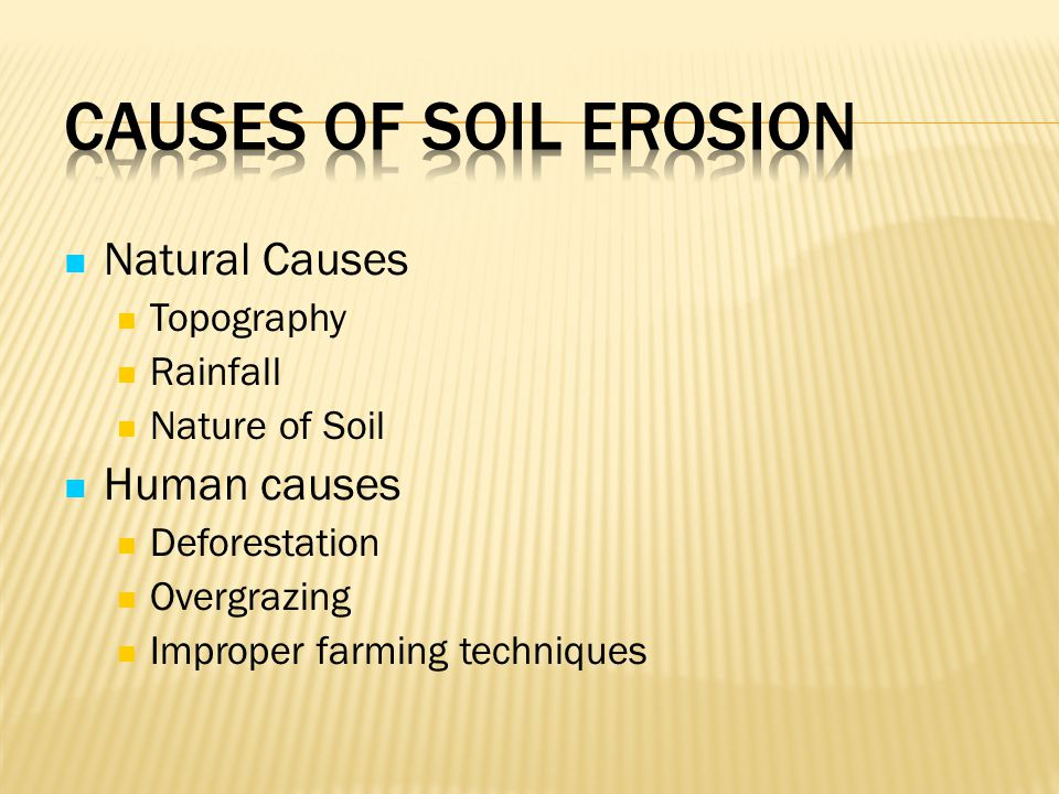 Causes of Soil Erosion Natural Causes Human causes Topography Rainfall