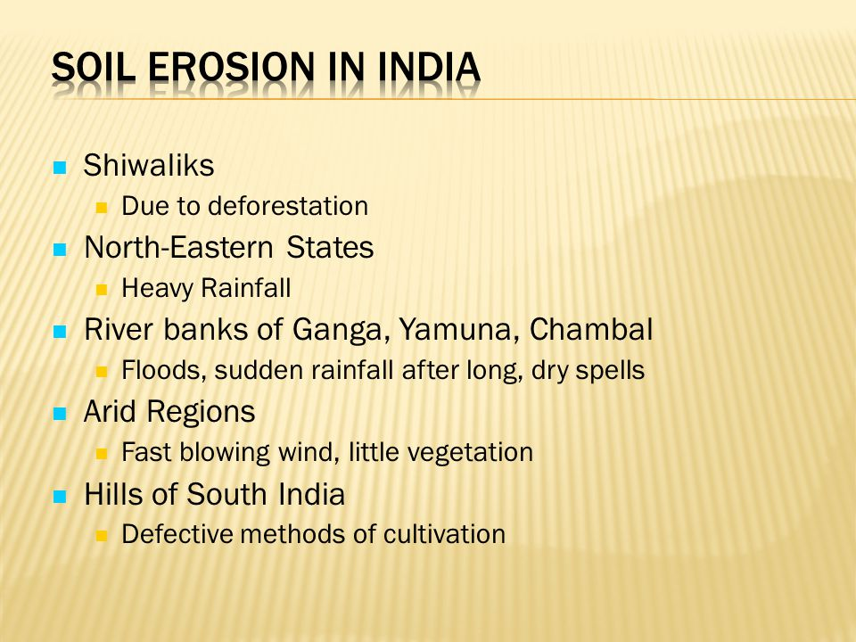 Soil Erosion in India Shiwaliks North-Eastern States
