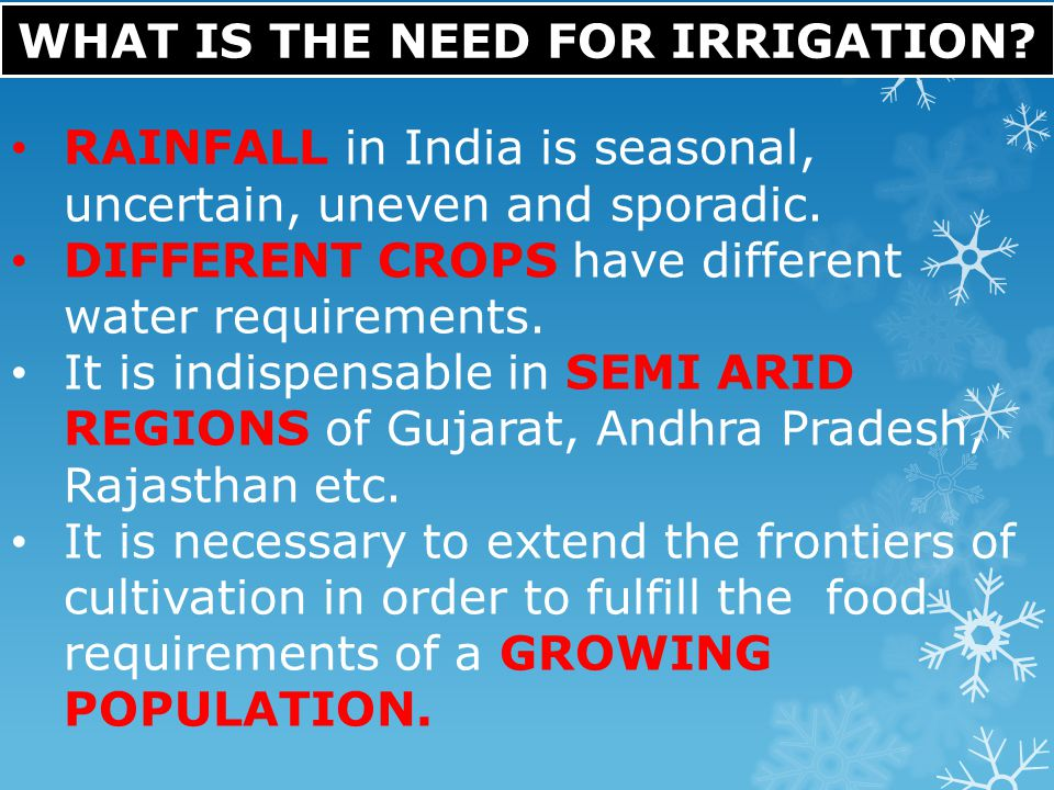 WHAT IS THE NEED FOR IRRIGATION