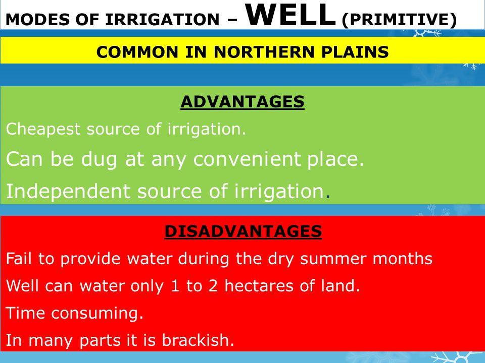 MODES OF IRRIGATION – WELL (PRIMITIVE)