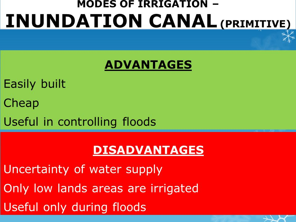 MODES OF IRRIGATION – INUNDATION CANAL (PRIMITIVE)