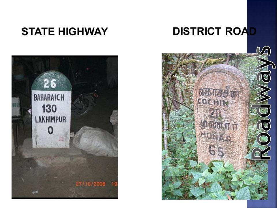 STATE HIGHWAY DISTRICT ROAD Roadways
