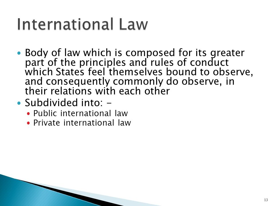 an introduction to the international law the body of legal rules This subsidiary means of determining international law rules is  akehurst's  modern introduction to international law by peter malanczuk  dense web of  linkages between countries that involve individuals and bodies both.
