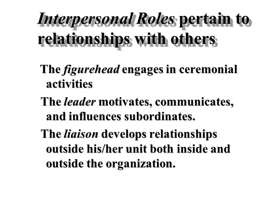 Interpersonal Roles pertain to relationships with others