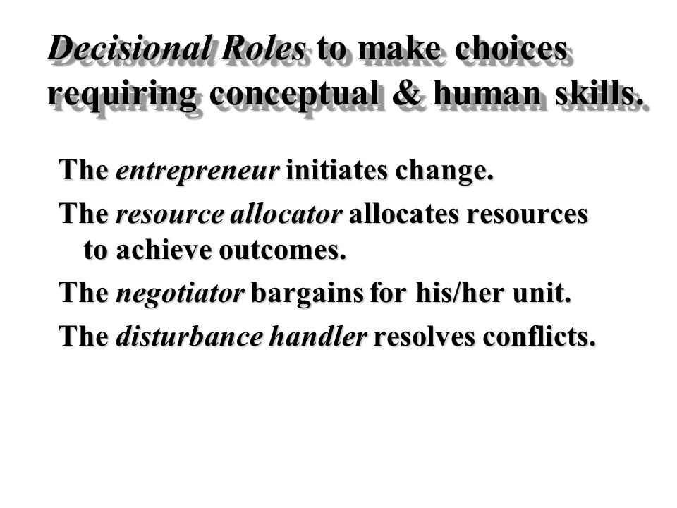 Decisional Roles to make choices requiring conceptual & human skills.