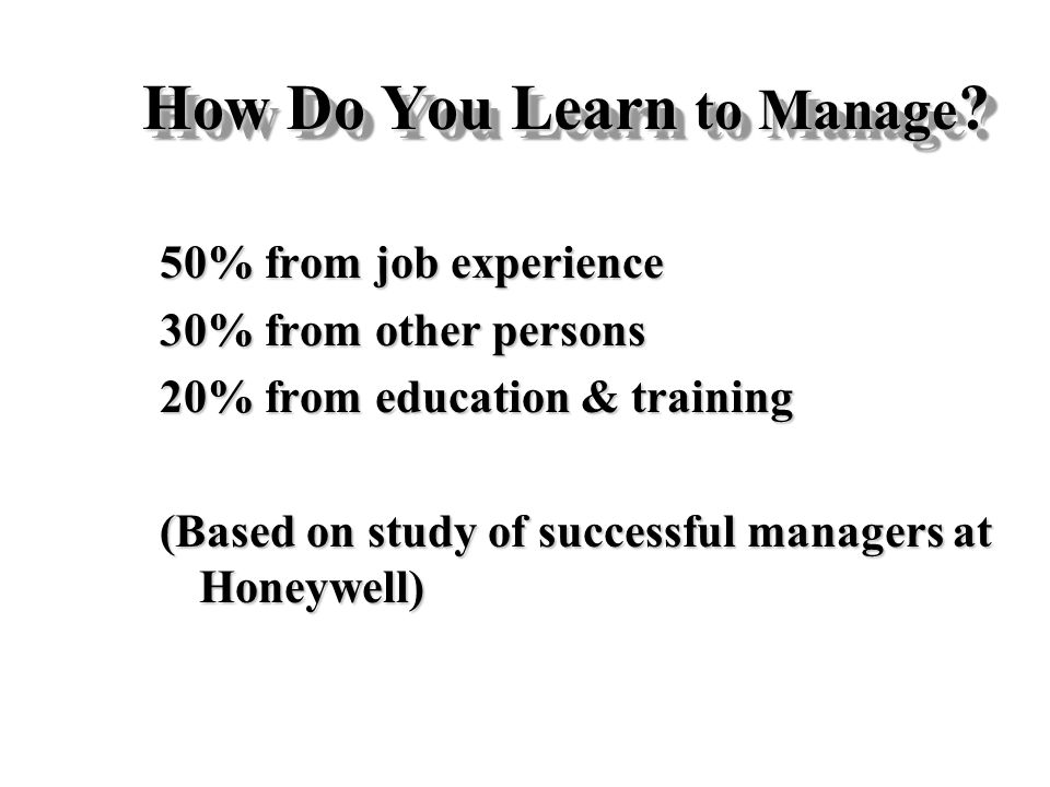 How Do You Learn to Manage
