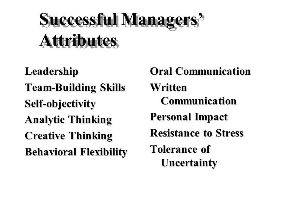 Successful Managers' Attributes