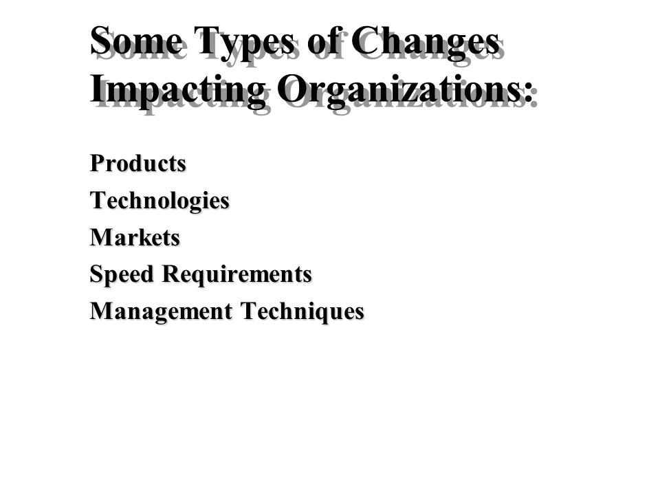 Some Types of Changes Impacting Organizations:
