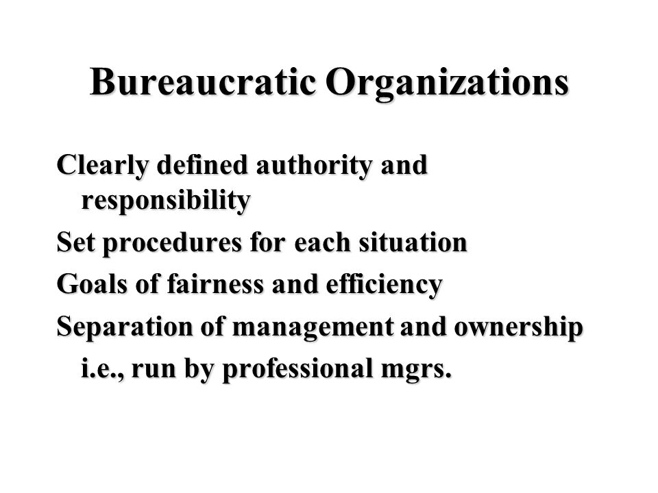 Bureaucratic Organizations