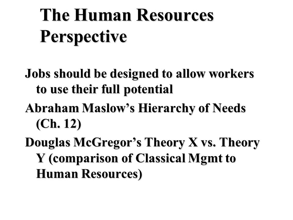The Human Resources Perspective