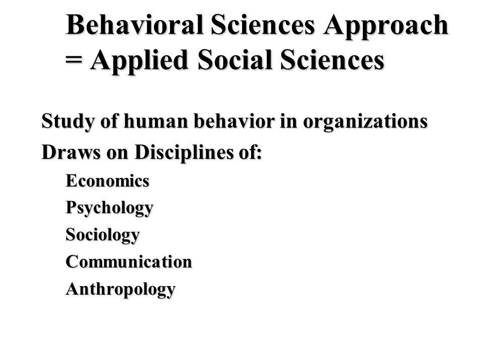 Behavioral Sciences Approach = Applied Social Sciences