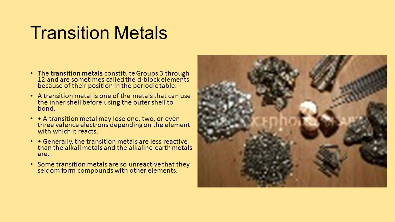 Alkali metals elements in group 1 are called alkali metals ppt transition metals gamestrikefo Images