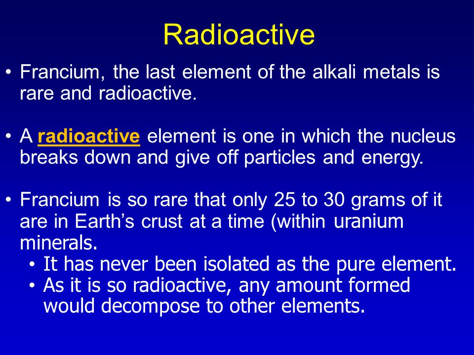 plutonium is a radioactive metallic element that is occasionally found in nature A radioactive metallic element that is a white trivalent metallic element sometimes classified a crystalline metallic element not found in nature.