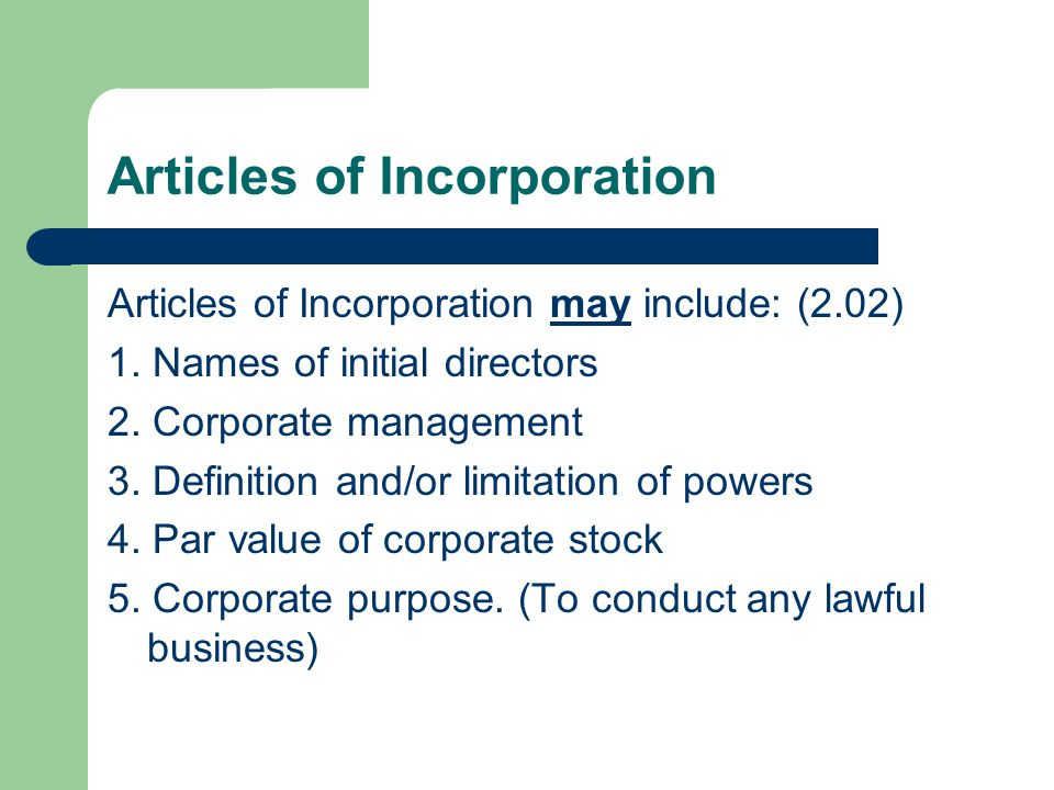 Developing Posts of Incorporation