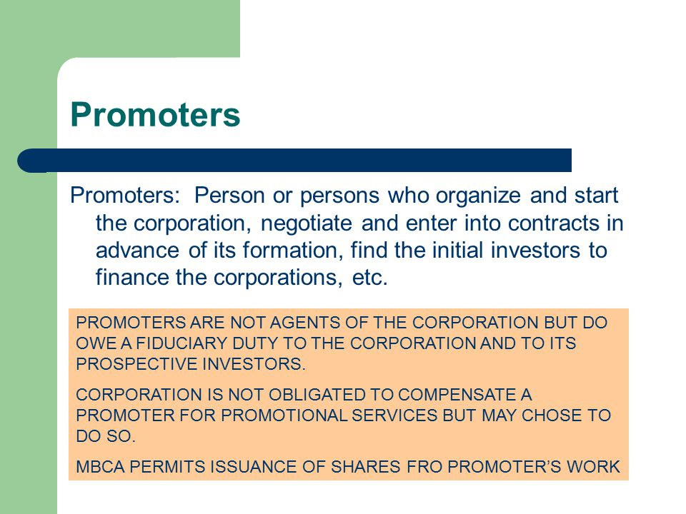 liability of promoters during pre incorporation contracts Last, if a company, after its incorporation, instead of ratifying a pre-incorporation contract chooses to enter into a contract on the same terms as the pre-incorporation contract, the liability of the company, the promoter or any person including the liability to pay damages under a court order comes to an end.