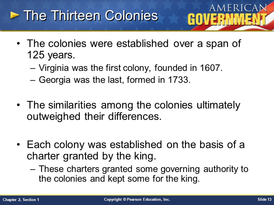 The Thirteen Colonies The colonies were established over a span of 125 years. Virginia was the first colony, founded in