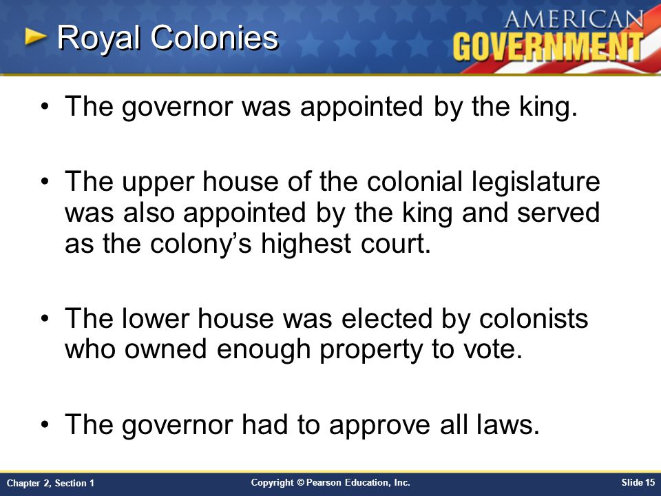 Royal Colonies The governor was appointed by the king.